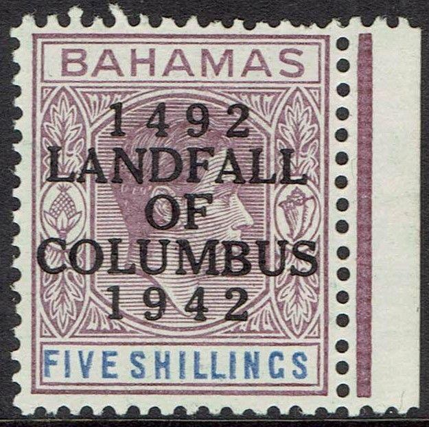 BAHAMAS 1942 450TH ANNIVERSARY COLUMBUS 5/-