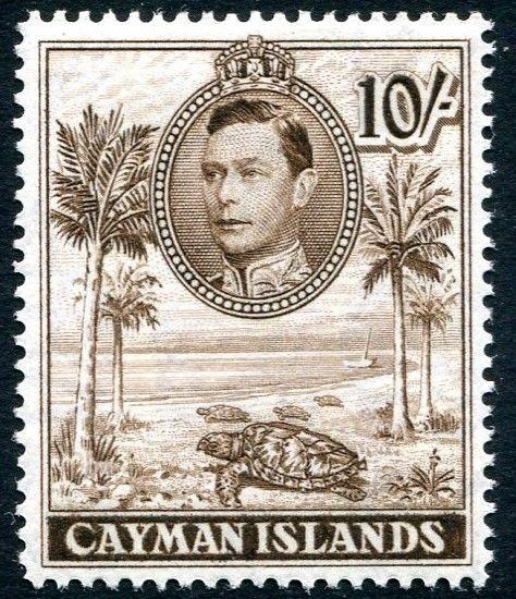 CAYMAN ISLANDS-1943 10/- Chocolate Perf 14 Sg 126a LIGHTLY MOUNTED MINT V26399