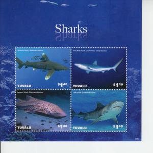 2014 Tuvalu Sharks II MS4 (Scott 1303) MNH