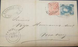 J) 1872 MEXICO, BRITISH POST OFFICE IN TAMPICO, IN A MAIL BEARING  WITH A 4P ORA