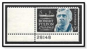US #1270 Robert Fulton Plate # Single MNH