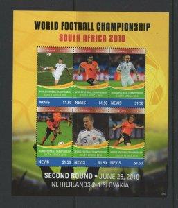Nevis #1635 (2010 World Cup sheet of six)  VFMNH CV $6.75