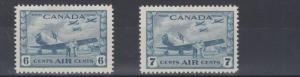 CANADA  1942 - 48    S G  399 - 400  PAIR OF AIR STAMPS    MH