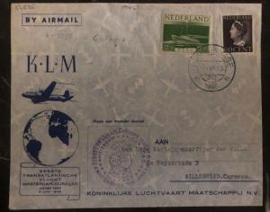 1946 The Hage Holland Airmail cover FFC To Willemstad Curacao Via New York KLM