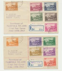 NORFOLK IS 1947 SET ON TWO SMALL REG. FIRST DAY COVERS (UNUSUAL)