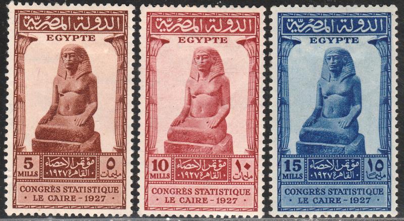 EGYPT 150-152, INTERNATIONAL.STATISTICAL CONGR. UNUSED, H OG  F-VF. (390)