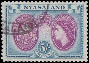 Nyasaland Protectorate #109, Incomplete single, 1953, Used