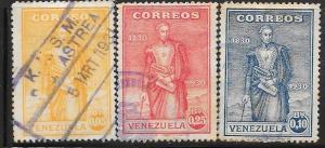 Venezuela  #290-292  Simon Bolivar  (U) CV $0.85
