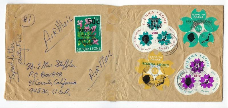 1971 Sierra Leone To USA Airmail Cover - See Reverse (RR74)