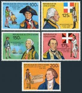 Ivory Coast 421-426,MNH.Michel 497-501,Bl.6. USA-200,1976.Heroes,Ships,Flags,