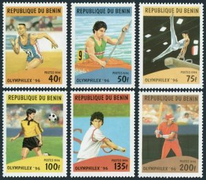 Benin 857-862,863,MNH.Mi 817-822,Bl.20. OLYMPHILEX-1996.Soccer,Basketball,Kayak,