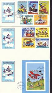 Antigua, 653-54,655 Disney Set (2) FDC's,**Used**