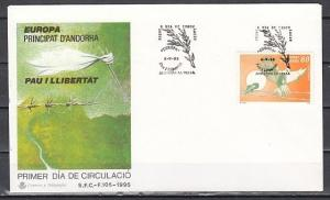 Andorra, Spanish. Scott cat. 234. Europa issue. Pigeon shown. First day cover. ^