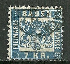 1868 Baden 28  7Kr Coat of Arms used
