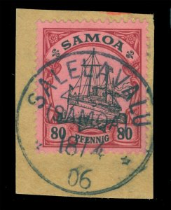 German Colonies - SAMOA 1906 YACHT 80pf Sc#66  SALELAVALU 18.4.1906 cxl Scarce