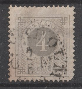 Sweden 1886/1891 Numerals 4o (1/10) (w/ Post Horn on Back) USED