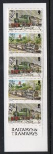 Isle of Man Sc 358f  b pane in complete £1.74  train stamp booklet mint NH