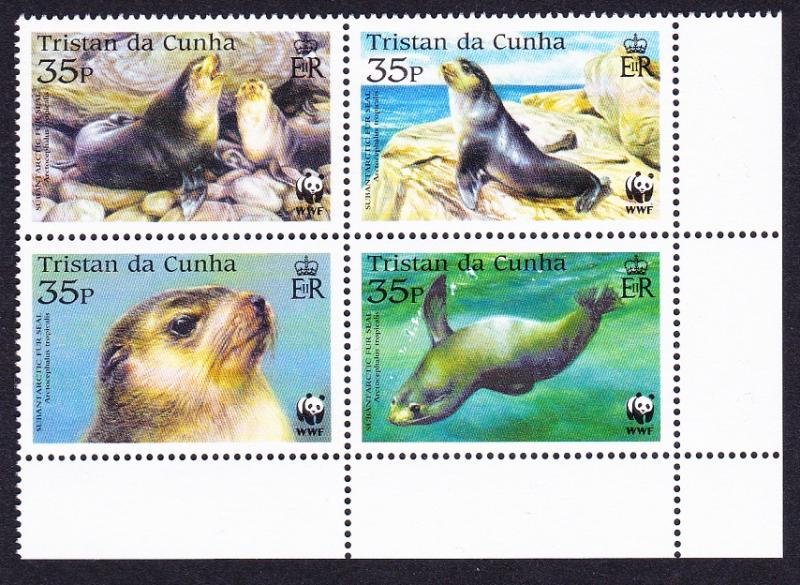 Tristan da Cunha WWF Subantarctic Fur Seal 4v Bottom Right Block of 4 SG#800/03