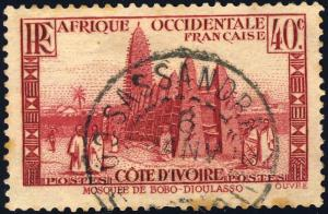 CÔTE-D'IVOIRE - ca.1938 - CAD SASSANDRA SUR 40c BOBO-DIOULASSO (Yv.118)