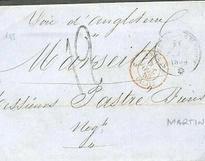 FRENCH COLONIES Martinique CDS Voie D'Angleterre Maritime Marseilles 1853 GV221