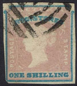 VICTORIA 1854  QV REGISTERED 1/- IMPERF USED