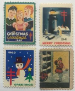 1940 1941 1963 Christmas Seal Stamps WX100 WX104 WX218