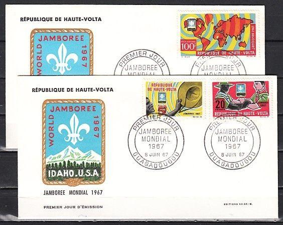 Burkina Faso, Scott cat 177-178, C41. World Scout Jamboree. First day cover.