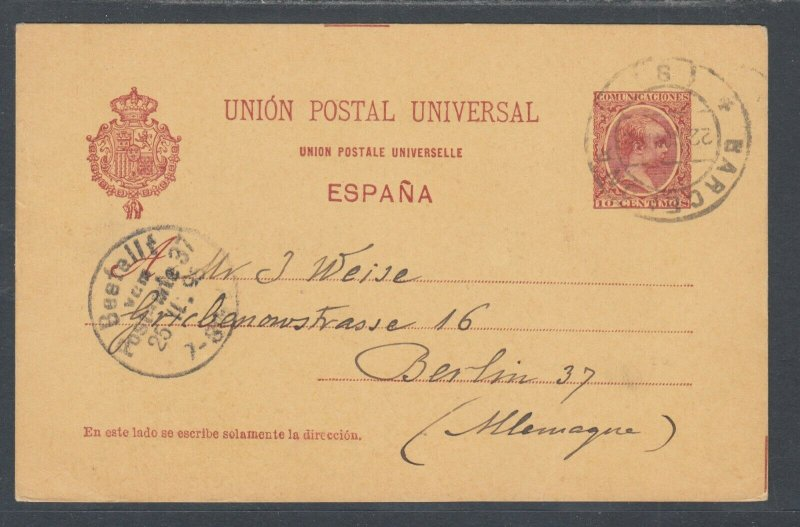 Spain H&G 26a used. 1895 10c Postal Card, BARCELONA-BERLIN, Germany, clean