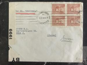 1940 Buenos Aires Argentina Censor Cover to Bale Switzerland via SS Neptunia