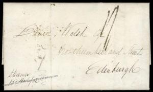 USA 1842 NY Edinburgh Scotland Transatlantic Cover Vorphila 82521