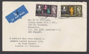 GB 1964 Airmail cover to New Zealand - nice use Shakespeare commems.........N586
