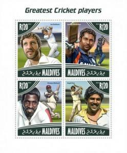 Maldives - 2014 Cricket Players - 4 Stamp Sheet - 13E-175