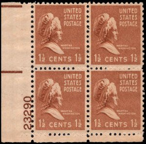 US #805 1 1/2¢ MARTHA WASHINGTON MNH LL PLATE BLOCK #23290 DURLAND .50¢