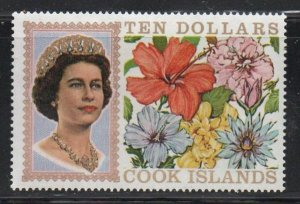 Cook Islands Sc 220 1968 $10 QE II & flowers stamp mint NH