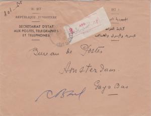 Tunisia Free Official Mail 1956 Tunis RP, Tunisie Registered to Amsterdam, Ne...
