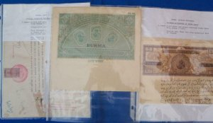 Burma: 22 Revenue Documents from 1899 to 1930's, See Remark (32833)