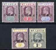 St Lucia 1902 KE7 set of 5 opt'd SPECIMEN, 2.5d without g...