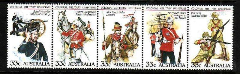 Australia-Sc#945- id5-unusedNH strip-Military-Uniforms-1985-