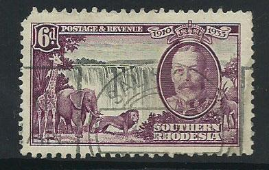 Southern Rhodesia SG 34  Good Used clipped corner perf