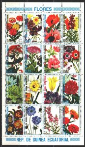Equatorial Guinea. 1979. Small sheet 1582-97. Flowers, flora. USED.