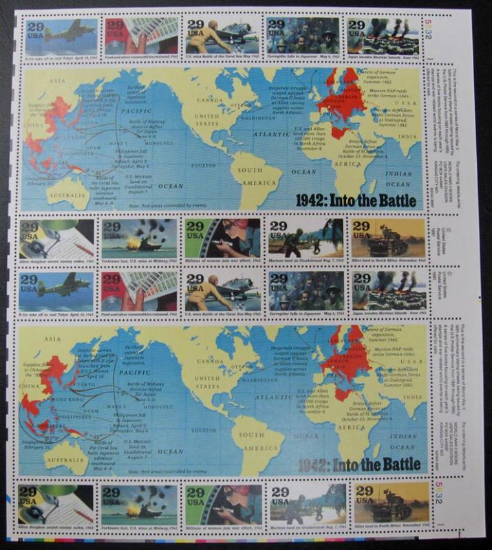 US #2697 World War II Full Sheet of 2 Sheets; MNH (15.00)