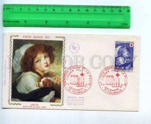 242318 FRANCE 1971 year RED CROSS Greuze girl w/ dog FDC