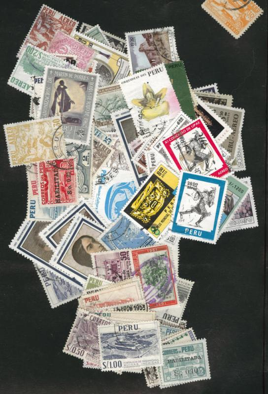 Peru  Packet of 200 different mostly used stamps