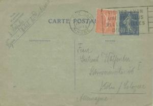 France 50c Sower on 40c Sower Postal Card 1930 Lyon-Gare, Rhone Visitez Lyon ...