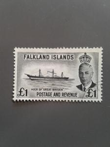 Falkland Islands 120 F-VF Used. Scott $ 25.00