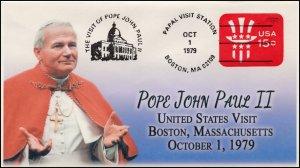 AO-U581, 1979, Pope John Paul II, Visit to US, Add-on Cover (2018), Boston MA,