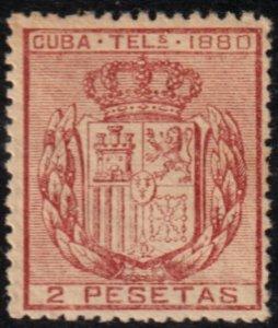 1880 Cuba Stamps E 50 Telegraphs 2 Pesetas Spain MNH
