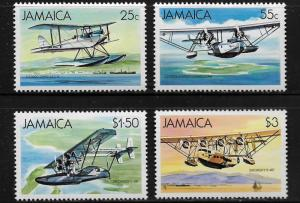 JAMAICA, 573-576, MINT HINGED HINGE REMNANT, SEA PLANES
