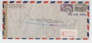 TRINIDAD TP US 1945 CENSOR COVER+ IC TRI H/S TY 9b REG 36c SCARCE (SEE BELOW)