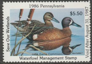 U.S.-PENNSYLVANIA 4, STATE DUCK HUNTING PERMIT STAMP. MINT, NH. VF